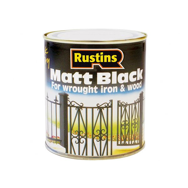Rustins Matt Black Paint 250ml