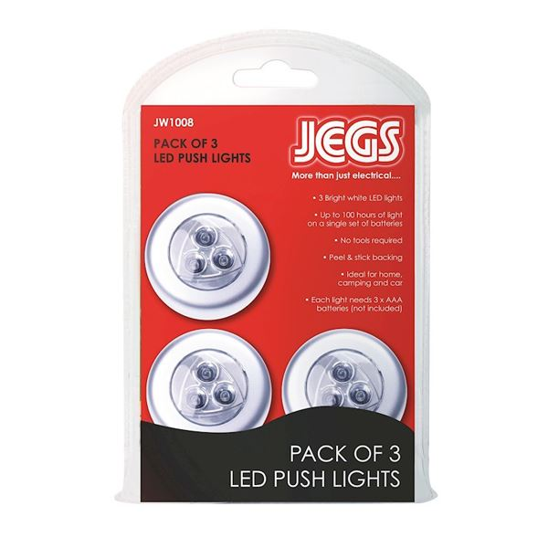 Jegs Super Bright LED Push Lights - (Pack of 3)