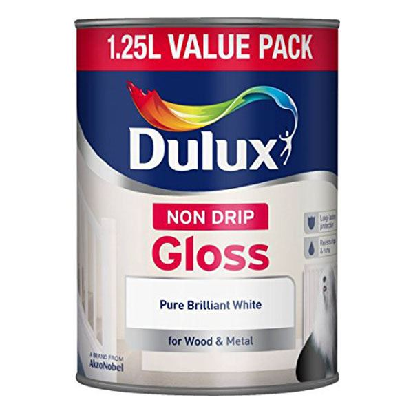 Dulux Non-Drip Gloss 1.25Lt - Pure Brilliant White
