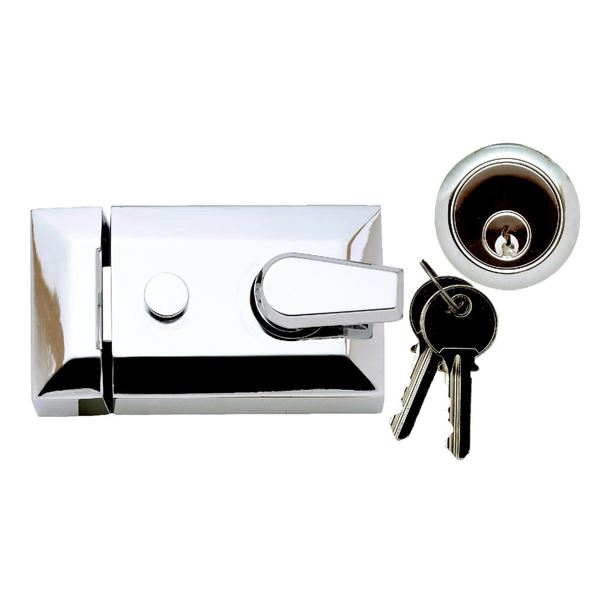 Sterling Deadlocking Nightlatch - Standard - Satin Chrome