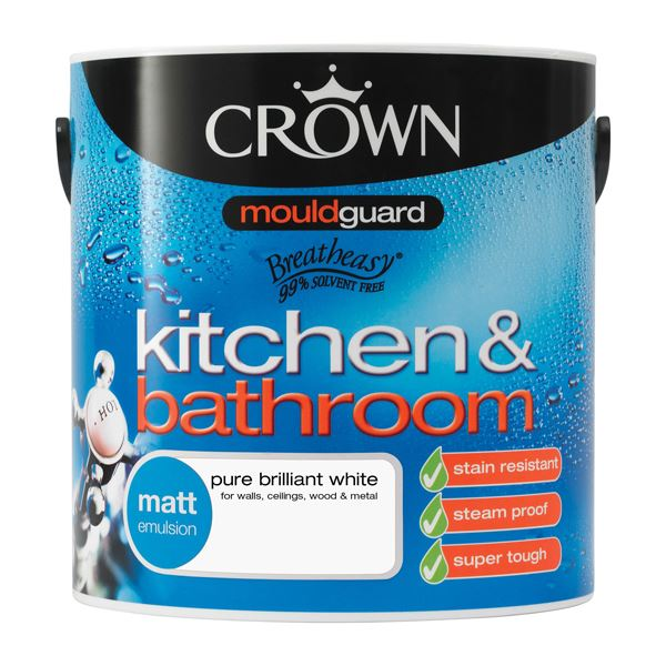 Crown Bath & Kitchen Paint 2.5Lt - Matt - White
