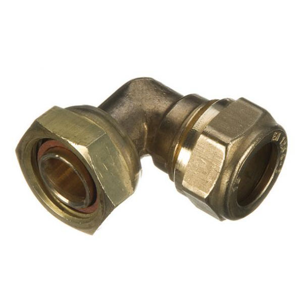 "Brass Compression - Bent Tap Connector - 22mm x 3/4"" - (9CBT2234)"