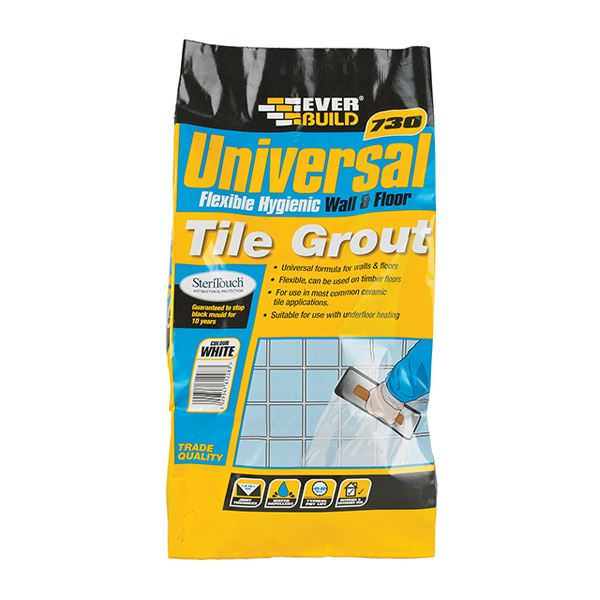 Everbuild 730 - Universal Wall & Floor Tile Grout 5Kg - White